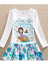 Girl's Casual/Daily Solid Floral Dress,Cotton Summer Long Sleeve