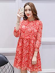 assinar primavera nova versão coreana da saia arte retro grandes estaleiros vestido de manga chiffon