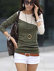 The unique design of mixed colors was thin bottoming shirt long-sleeved T-shirt