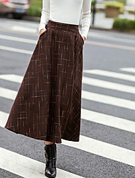 Women's Going out Midi Skirts,Simple A Line Pleated Solid Winter
