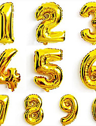 10Pcs   16 Inch 0-9 Gold Silver Number Foil Balloons Digit Air Ballons Happy Birthday Wedding Decoration Letter Balloon Event Party Supplies