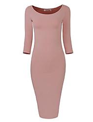 Trapèze Robe Femme Quotidien Soirée Soirée de Fiançailles Soirée Cocktail Promo Fête de Mariage Rendez-vous Couleur unie Col Arrondi