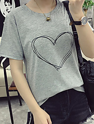 Real shot summer new wild personality sketch of love printed short-sleeved t-shirt female loose