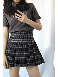 Sign college wind small fresh wild skirts pleated plaid skirt A word shorts lining