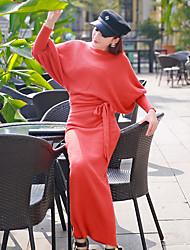 The new Puff waist bat sleeve sweater dress knitted dress package hip high waist strap dress women