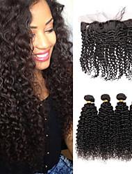 Um Pacote de Solução Cabelo Peruviano Kinky Curly 12 meses 5 Peças tece cabelo