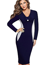 Women's Color Block V Neck Knee-length Long Sleeve OL Work Party Simple Bodycon Sheath Pencil Dress