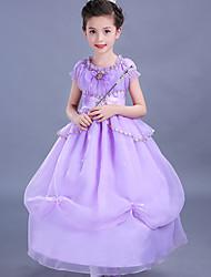 Ball Gown Tea-length Flower Girl Dress - Cotton Organza Satin Jewel with Bow(s) Ruffles