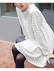 Primavera início de 2017 coreano doce laço a céu aberto crochet em torno do pescoço de manga comprida vestido de cor sólida