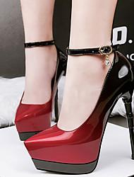 Damen-High Heels-Kleid-Lackleder-Stöckelabsatz-Club-Schuhe-Grau Rot Grün Blau