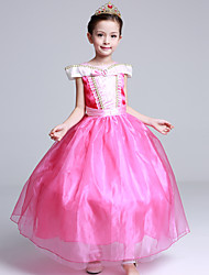 Ball Gown Tea-length Flower Girl Dress - Satin Tulle Flocking Short Sleeve Off-the-shoulder with Bow(s) Crystal Detailing Ruffles