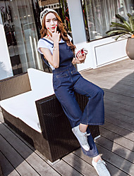 sinal 2017 Primavera coreano magro denim macacão suspensórios estudante cintura larga do pé do chifre calças casuais