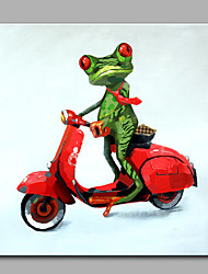 Hand-Painted Animal  The Frog To Ride Motorcycle Ready To Hang  Modern One Panel Canvas Oil Painting For Home Decoration