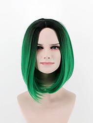 Mulher Perucas sintéticas Sem Touca Liso Verde Peruca Natural Peruca de Halloween Peruca de carnaval Perucas para Fantasia