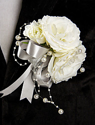 Wedding Flowers Free-form Roses Boutonnieres Wedding Party/ Evening White Satin Bead