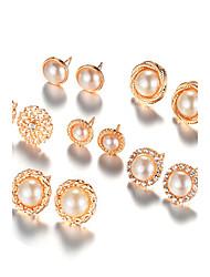 Mulheres Brincos Curtos Imitação de Pérola Moda Euramerican bijuterias Liga Forma Redonda Jóias Para Diário