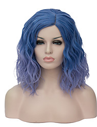 europeu e americano de moda diária pequeno e puro e fresco inclinação azul cos macarrão instantâneo peruca festa 1889