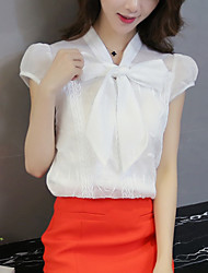 Sign 2016 summer new Korean women loose short-sleeved chiffon bow blouse shirt female