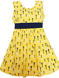Girls Dress Yellow Dandelion Print Belt A-lined Dresses Party Princess Casual Kids Clothing