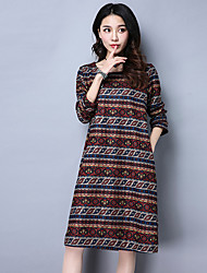 Sign new spring 2017 big yards long section long-sleeved round neck print dress