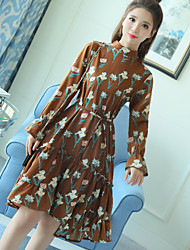 Sign new spring floral base skirt Korean thin long-sleeved dress female wild long section skirt
