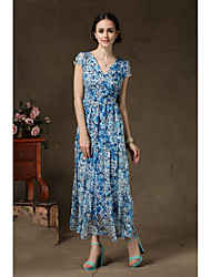 Women spend three sections stitching navy chiffon skirt big skirt chiffon dress Specials