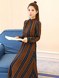 Sign spring new Korean version of printing long section collar long-sleeved waist chiffon dress female backing