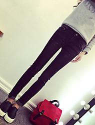 2017 nouveaux pantalons sud-coréen de marée brassard pieds jeans crâne pantalon crayon femme était mince