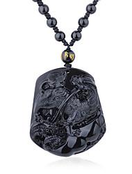 Damen Anhängerketten Obsidian Quadatische Form Krystall Religiös Hip-Hop Rock Modisch Punkstil Einstellbar Schwarz Schmuck FürParty