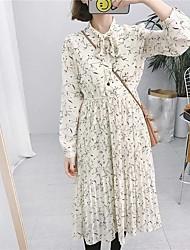 Tiro real Arco retro coreano slim laço longa seção bottoming vestido floral