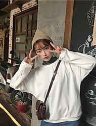 sinal clássico cor sólida coreano Instituto essencial de vento lazer selvagem manga morcego t-shirt de mangas compridas solto