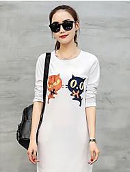 Damen Solide Einfach Arbeit T-shirt,Rundhalsausschnitt Sommer Langarm Baumwolle Mittel