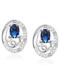 Elegant Silver Plated Blue Crystal Art Hollow Oval Lady Stud Earrings for Wedding Party Women Accessiories