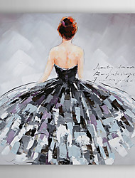 Hand-Painted  Back of a Woman With Skirt by Knife  Canvas Oil Painting With Stretcher For Home Decoration Ready to Hang