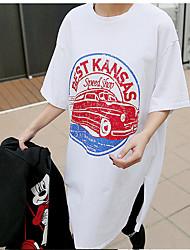 Damen Druck Einfach Ausgehen T-shirt,Rundhalsausschnitt Sommer Kurzarm Baumwolle Mittel