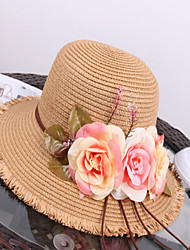 Women's Straw Floppy Hat Straw Hat,Vintage Cute Party Casual Jacquard Spring Summer Fall Winter All Seasons