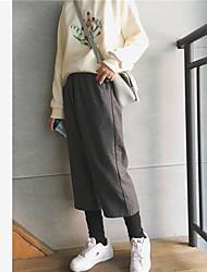 assinar grossa de lã calças perna larga femininos calças perna Outono e fechamento de inverno calças de cintura elástica viga reta falsos