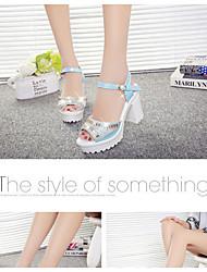 Feminino-Sandálias-Light Up Shoes-Rasteiro-Claro Verde e Azul Branco e Verde-Couro Ecológico Pele-Ar-Livre Social Para Esporte