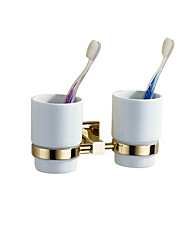 Double Toothbrush Holders Modern Brass Gold