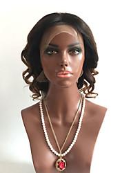 grand pas cher bouclés T1b / 4/27 noir auburn 8-26 pouces humides cheveux humains vierges brazilian perruques sans colle complète avec les