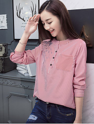 2017 spring new female striped long-sleeved shirt Korean version of casual loose embroidered jacket hedging