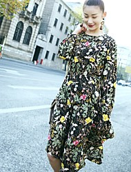 The new long-sleeved floral dress seeds shoot stock
