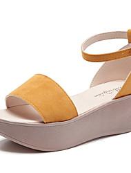Women's Sandals Summer Fall Gladiator Creepers Fleece Wedding Party & Evening Dress Casual Wedge Heel Buckle