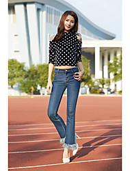 Women's Low Rise Inelastic Jeans Pants,Street chic Bootcut Solid