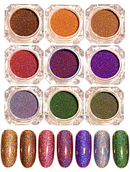 1 Set 9 Colors BORN PRETTY Starry Holographic Laser Powder Manicure Nail Art Glitter Powder Decorations Accessories
