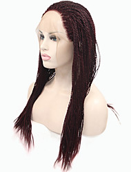 Sylvia Synthetic Lace front Wig Dark Wine Braided Hair Small Braids Heat Resistant Synthetic Wigs