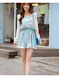 * Korean version of sweet princess women's round neck long-sleeved floral chiffon dress Nett