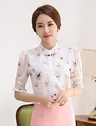 Women's Going out Casual/Daily Work Cute Blouse,Floral Stand ½ Length Sleeve Polyester