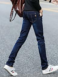 Masculino Simples Cintura Média Inelástico Chinos Calças,Skinny Cor Única,Patchwork