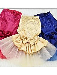 Chien Robe Vêtements pour Chien Eté Princesse Mignon Décontracté / Quotidien Bleu de minuit Jaune Rouge